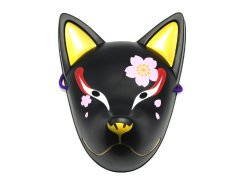 民芸品お面 天狐(夜桜)黒(パッケージ入り) 【単価¥580】1入