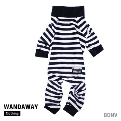 OUTLET★20%0FF★つるつるロンパース(ボーダーネイビー) WTL-BDNV 【WANDAWAY】