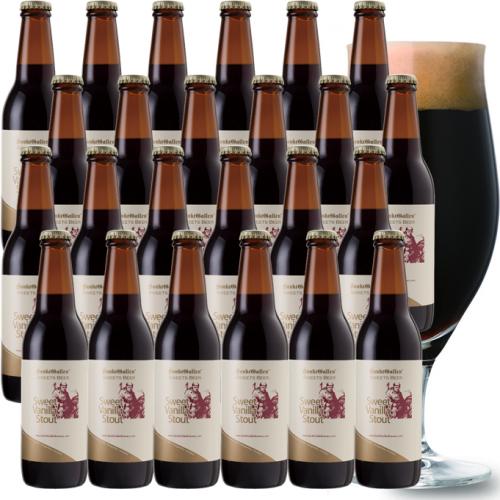 チョコビール【スイートバニラスタウト24本セット】 後味がバニラチョコの濃厚黒ビール <業務用箱>