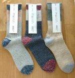 ざっくり編みくつした  杢ウール・ショート (左からグレー/ネイビー/ベージュ)