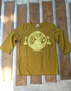 FOODCHAN3/4FOOTBALL TEE HEMP(GREEN YELLOW)