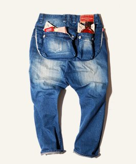 G55Sarouel Flap Denim Pants  -REAL DAMAGE-