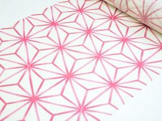 絹紅梅【白地に濃いピンク/麻の葉】仕立代込み