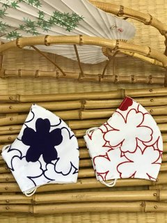 江戸手染め浴衣マスク【白地に桜/赤、紫】