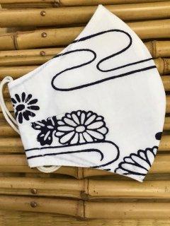 江戸手染め浴衣マスク【白地に紺/菊に流水】