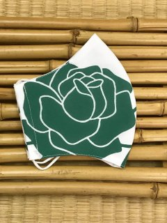江戸手染め浴衣マスク【白地に緑/薔薇】