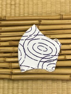 江戸手染め浴衣マスク【白地に紫/水紋】