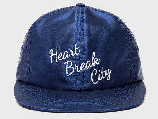 """THE DECADES"" HEART BREAK CITY SATIN 6 PANEL (NAVY)"