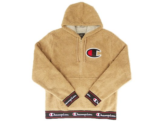 """Champion"" SHERPA FLEECE PULL OVER HOODIE (KHAKI)"