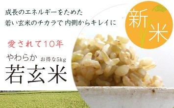 <お得>新米・やわらか若玄米 【1kg×5袋】