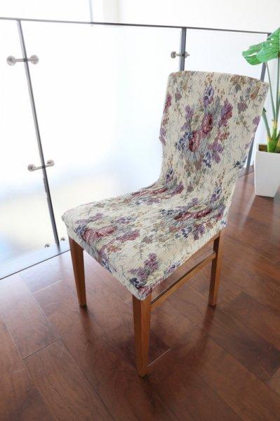 スペイン製ストレッチチェアカバー(椅子カバー):ゴブランローズ 座面2枚組2200円〜背付2枚組3800円