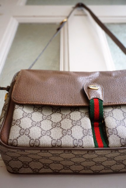 reputable site 04eac f44a1 ITALY製/OLD GUCCI 《GG×BROWN LEATHER》BOX SHOULDER BAG(オールドグッチ/シェリーライン)【送料無料】  - ...