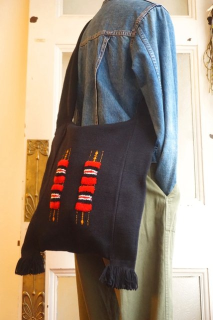 USA USED★WOVEN BLACK BAG w/RED&GOLD RECTANGLES(フォークロア/ヴィンテージ)