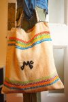 "USA VINTAGE""HAND MADE""LINE TOTE BAG w/RAINBOW LINE&""Mc"""