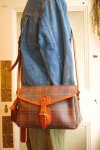 "USA《RALPH LAUREN》""BURGUNDY TARTAN""SHOULDER BAG w/BRUSH&TAG"