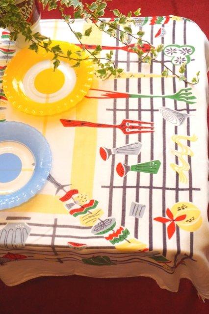 Magnificent Usa Vintage Bbq Print 50S Table Cloth 50 Download Free Architecture Designs Scobabritishbridgeorg