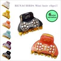 【全6色】RenaChris★スワロフスキーリボン柄のMINIバンスヘアクリップ【メール便不可】hai029