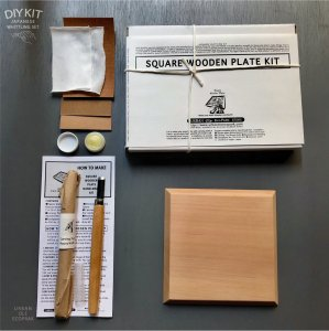 JAPANESE WOOD PLATE CARVING DIY KIT ( SQUARE )