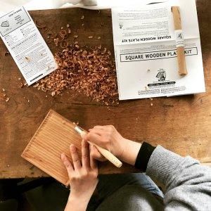 JAPANESE WOOD PLATE CARVING DIY KIT ( SQUARE )
