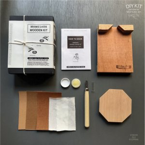 JAPANESE WOOD SMALL PLATE CARVING DIY KIT(Octagon)<BR> 彫刻刀で作る豆皿キット八角