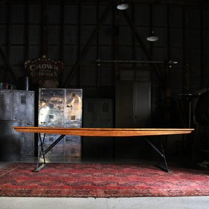 1950s US PROPERTY WOODEN TABLE MADE BY MIFFILNBURG BODY WORKS