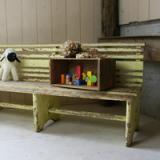 rust kids benchi 古い木製ベンチ