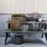 primitive garden shelf