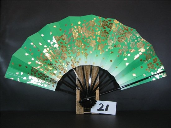 A21 舞扇子 緑天ぼかし 金箔桜
