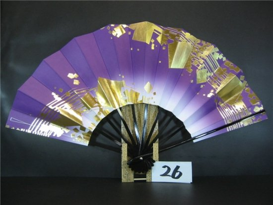 A26 舞扇子 紫天ぼかし 金箔小石