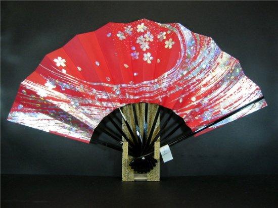 A141 舞扇子 赤べた ホログラム箔桜ふぶき