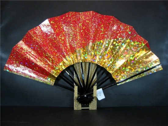 A150 舞扇子 金ホログラム箔砂子 高級光沢紙赤