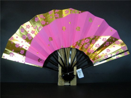 A242 舞扇子 ピンクべた 金箔桜