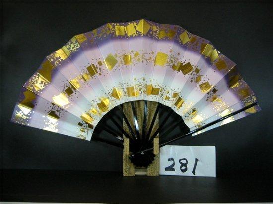 A281 舞扇子 紫天二段 シルバー引き 金箔三段小石