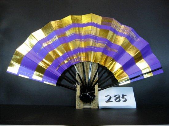 A285 舞扇子 紫べた シルバー引き 金箔4段かすみ