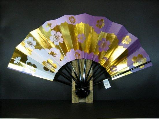 A291 舞扇子 紫横ぼかし シルバー引き 金箔桜