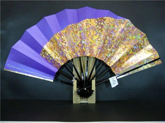 A382 舞扇子 紫べた シルバー引き 金ホログラム箔山
