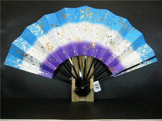 A388 舞扇子 青・紫天地 金箔小石