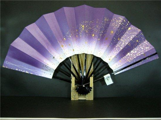 A392 舞扇子 紫天ぼかし シルバー引き 金箔砂子