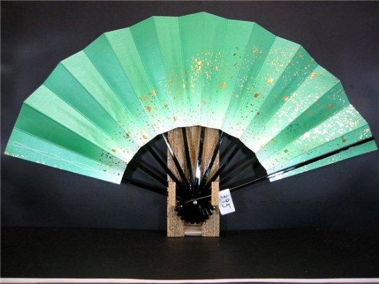 A395 舞扇子 緑天ぼかし シルバー引き 金箔砂子