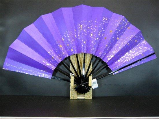 A397 舞扇子 紫べた シルバー引き 金箔砂子