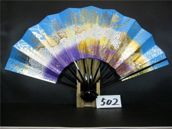 A502 舞扇子 金箔秋草花 空・紫天地シルバー引