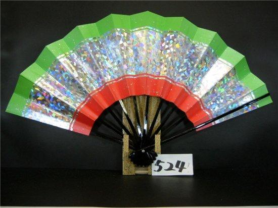 A524 舞扇子 銀ホロ中段 草・朱天地 シルバー引き