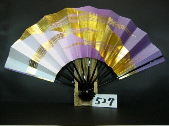 A527 舞扇子 金箔モミかすみ 紫横ぼかしシルバー引き