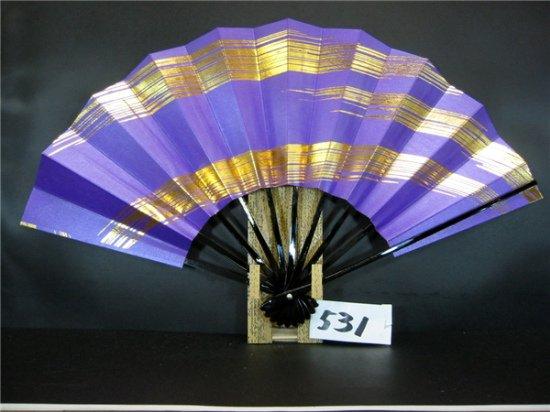 A531 舞扇子 金箔ななめかすみ 紫べた シルバー引き
