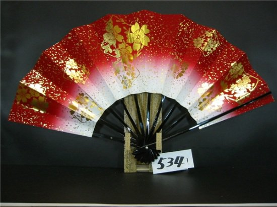 A534 舞扇子 金箔桜 赤天ぼかし