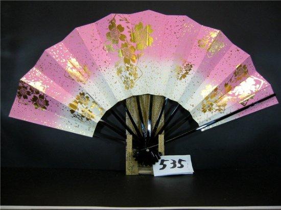 A535 舞扇子 金箔桜 ピンク天ぼかし