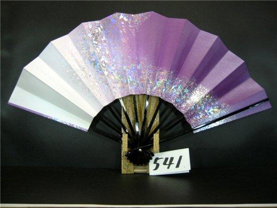 A541 舞扇子 銀ホログラム流線 紫横ぼかしシルバー引き