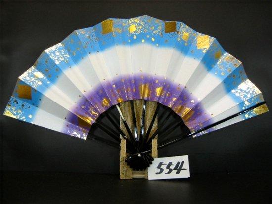 A554 舞扇子 金箔小石ちらし 空・紫天地シルバー引き