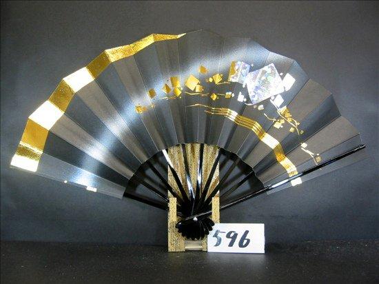 A596 舞扇子 金かすみホロ小石黒シルバーピース