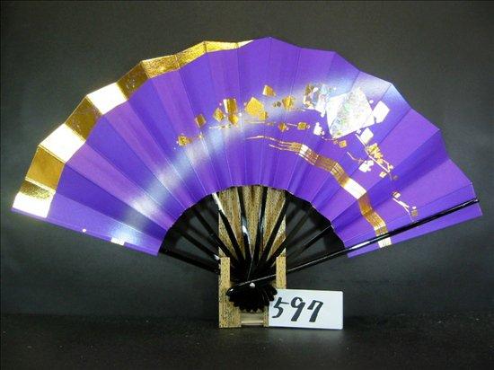 A597 舞扇子 金かすみホロ小石紫シルバーピース